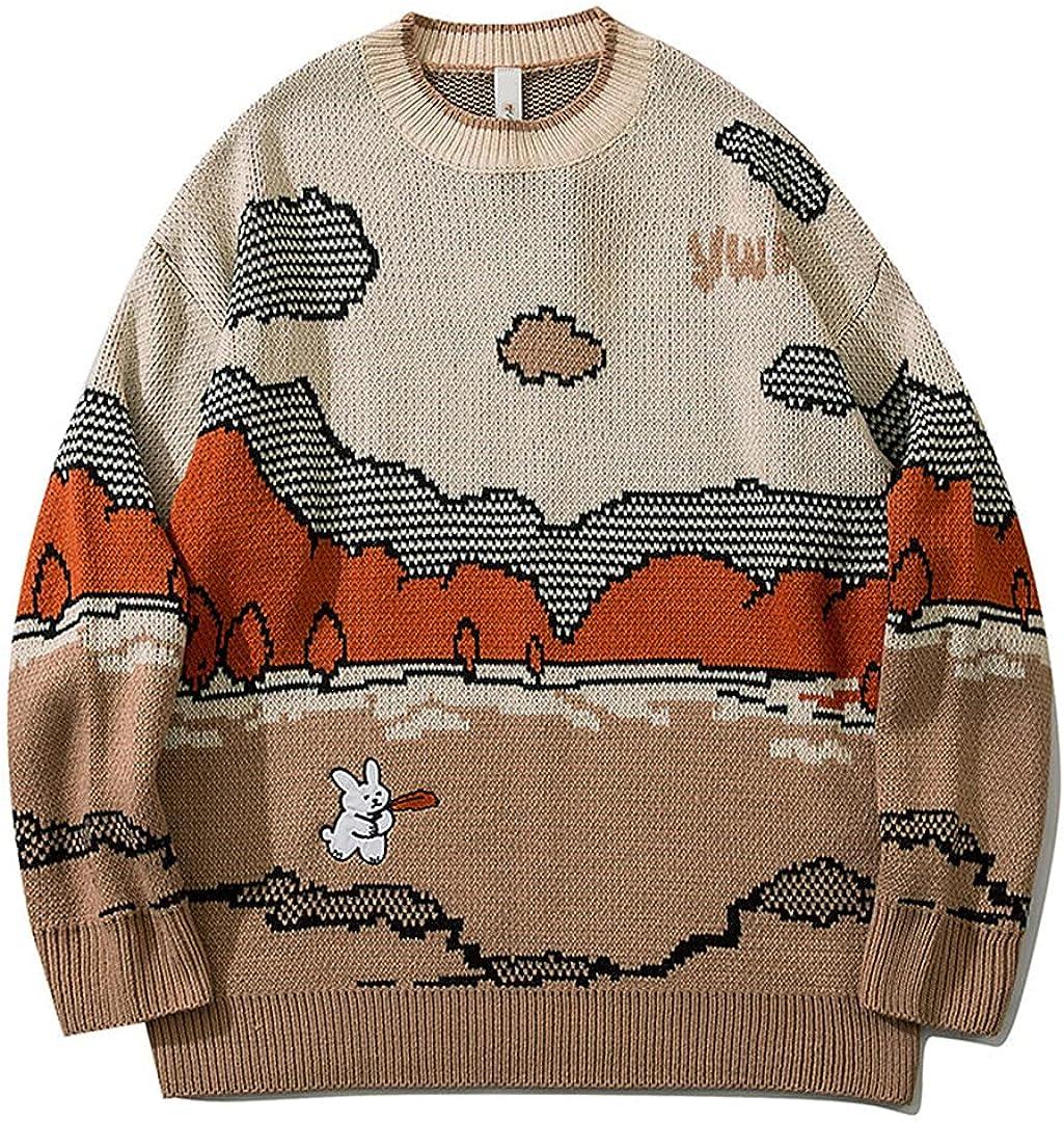 Harajuku Vintage Sweater Streetwear Pullover Men Cute Anime Knitwear Hip Hop Sweater