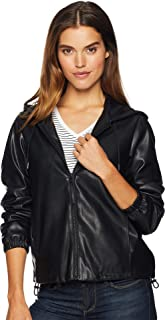Womens Faux Leather Hoodie