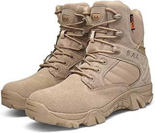 Men's Combat Boots with Side Zipper Velcro and Casual Outdoor Mountaineering Trekking Commando Tactical Boots