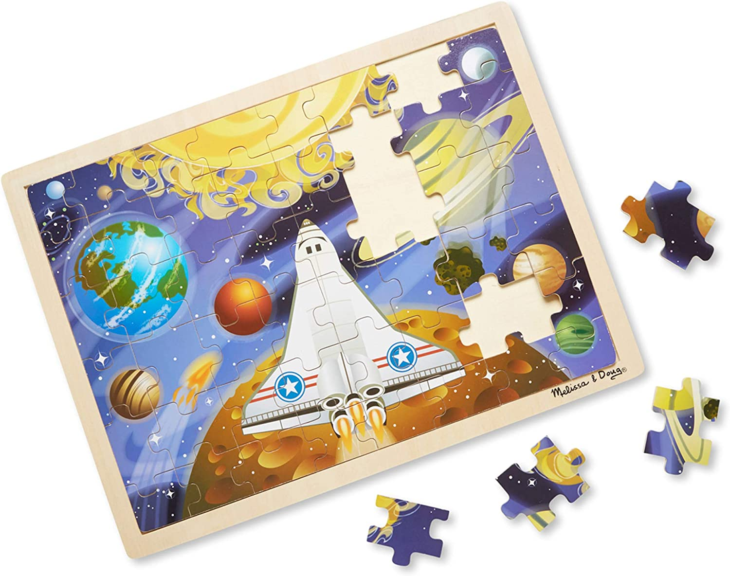 Long Beach Mall Melissa Doug 48pc Space Voyage Puzzle Wooden Jigsaw Max 72% OFF
