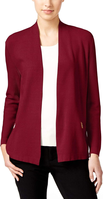 Charter Club Petite Open-Front Zip-Pocket Cardigan Cardinal Red Size PET/LGE