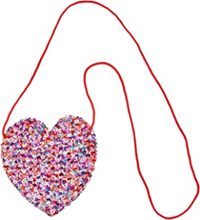 Girls Toddler Sequin Purse Heart Shaped Small Bag Crossbody Long Strap