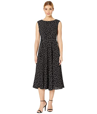Tahari by ASL Polka Dot Side Wrap Midi Dress (Sprinkled Dot) Women
