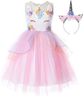 Best Flower Girls Unicorn Costume Pageant Princess Party Dress Review