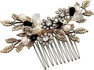 Vintage Black Flower Crystal Pearl Side Combs Bridal Headpiece Wedding Hair Accessories