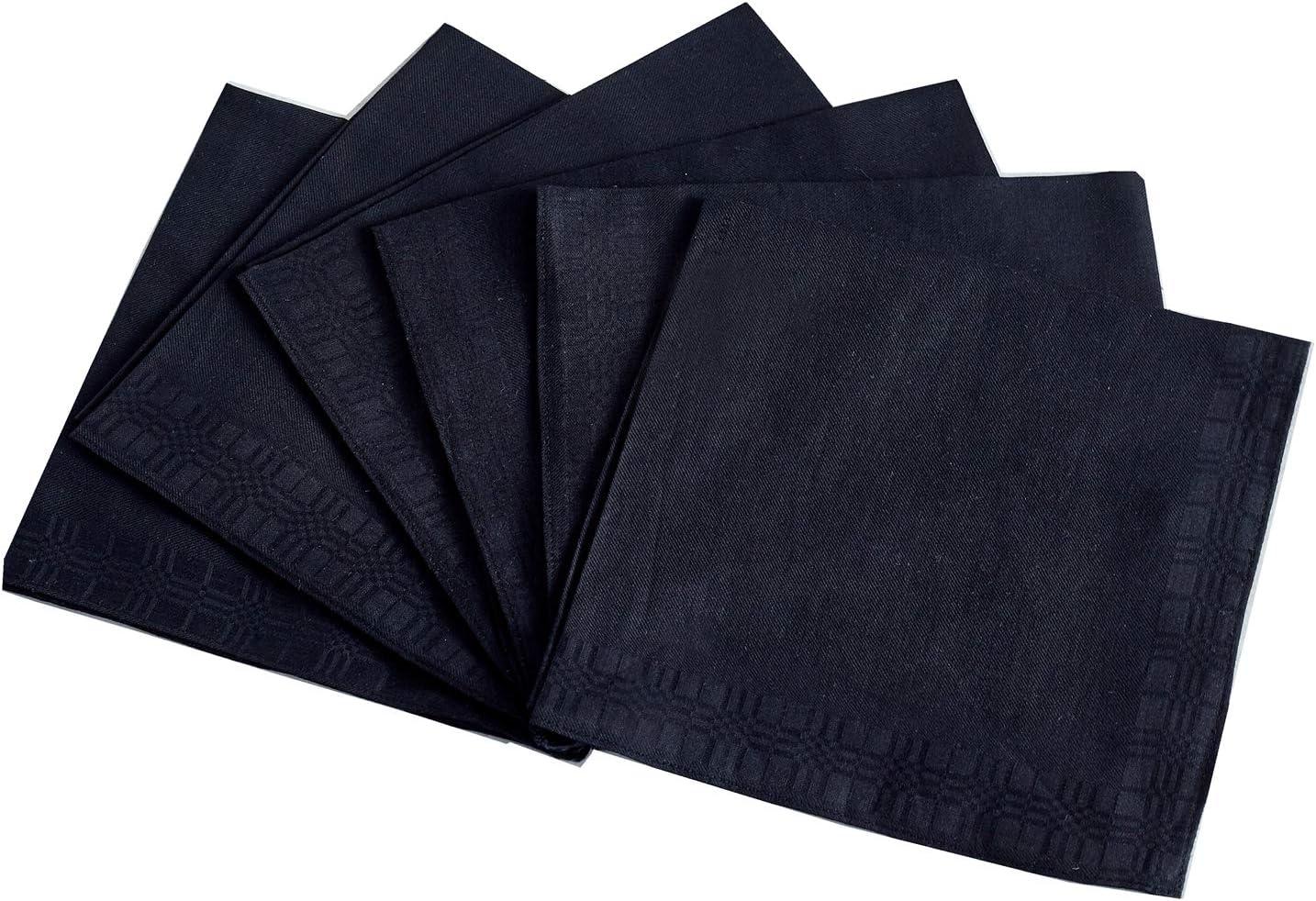 Men's Handkerchiefs,100% Soft Cotton,Black Hankie,Pack of 6