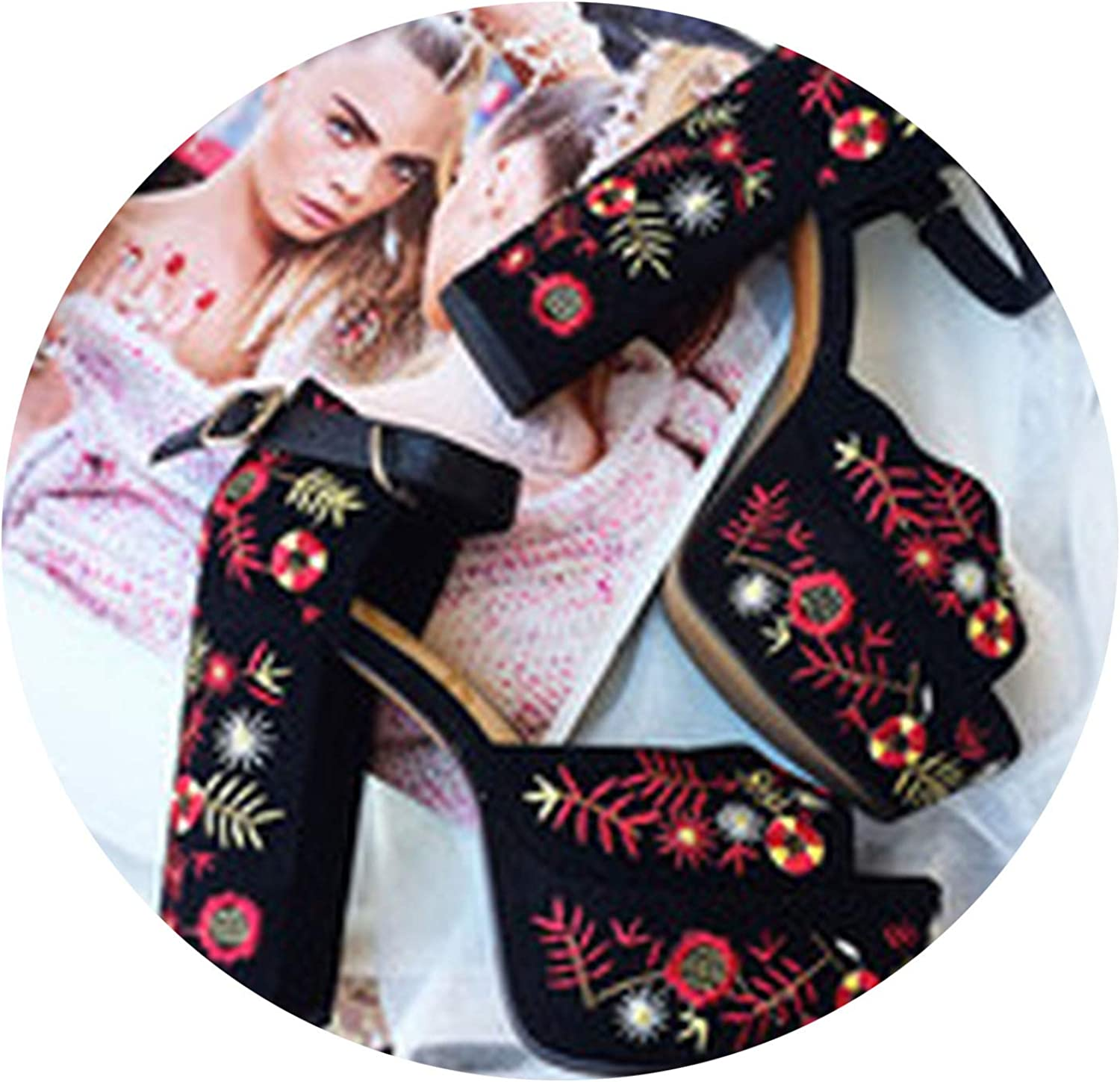 Outcome1 Embroider Sandals shoes Woman Chunky Square Heels Walking shoes Black Kid Suede Embroidered Flowers Sandals