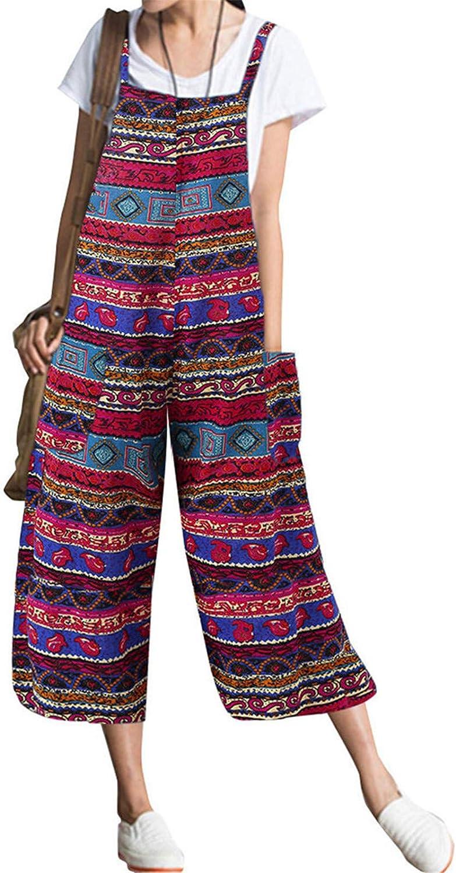 Women Sleeveless Oversize Baggy Harem Pants Bib Cargo Pants Stripe Overalls Plus