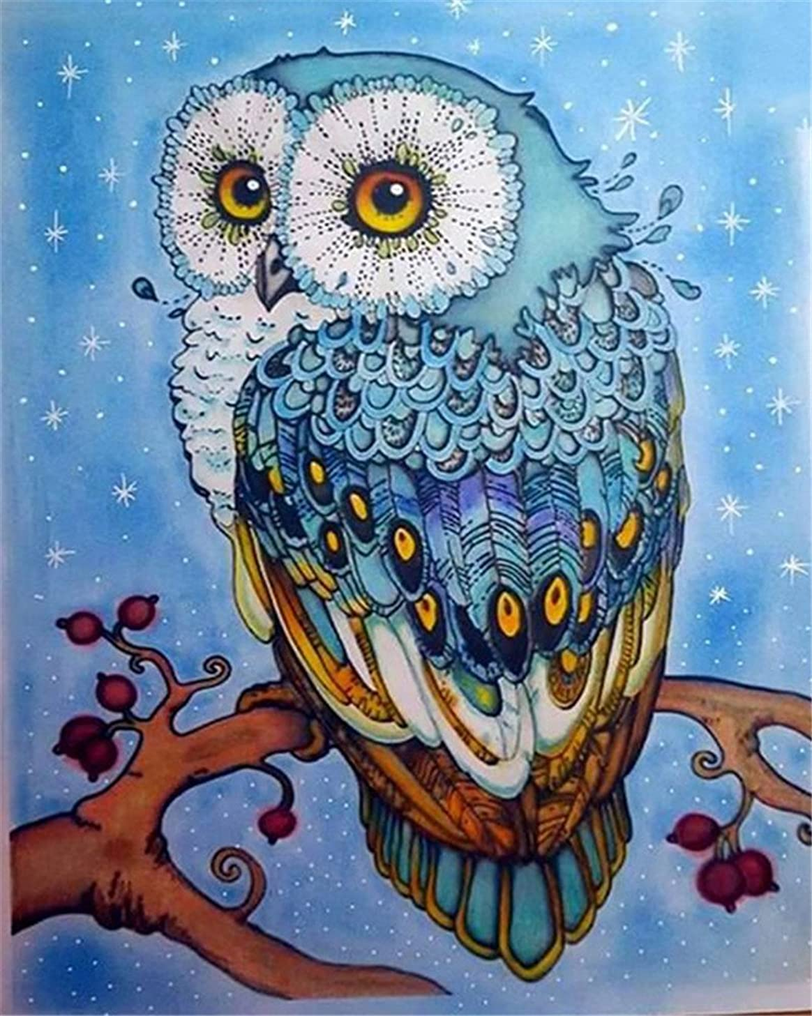 DIY Oil Painting Paint by Number Kit for Kids Adults Beginner 16x20 inch -Cute Owl,Drawing with Brushes Christmas Decor Decorations Gifts (Frame)