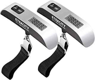 Etekcity Digital Hanging Luggage Scale, Portable Handheld Baggage Scale for Travel, Suitcase Scale With Rubber Paint, Temperature Sensor, 110 Pounds, Silver, Battery Included (2 Pack)