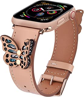 V-MORO Leather Bands Compatible with 40mm Apple Watch Band 38mm Women Fashion Butterfly Strap for iWatch Series 4/3/2/1 with Rose Gold Stainless Steel Buckle Beige