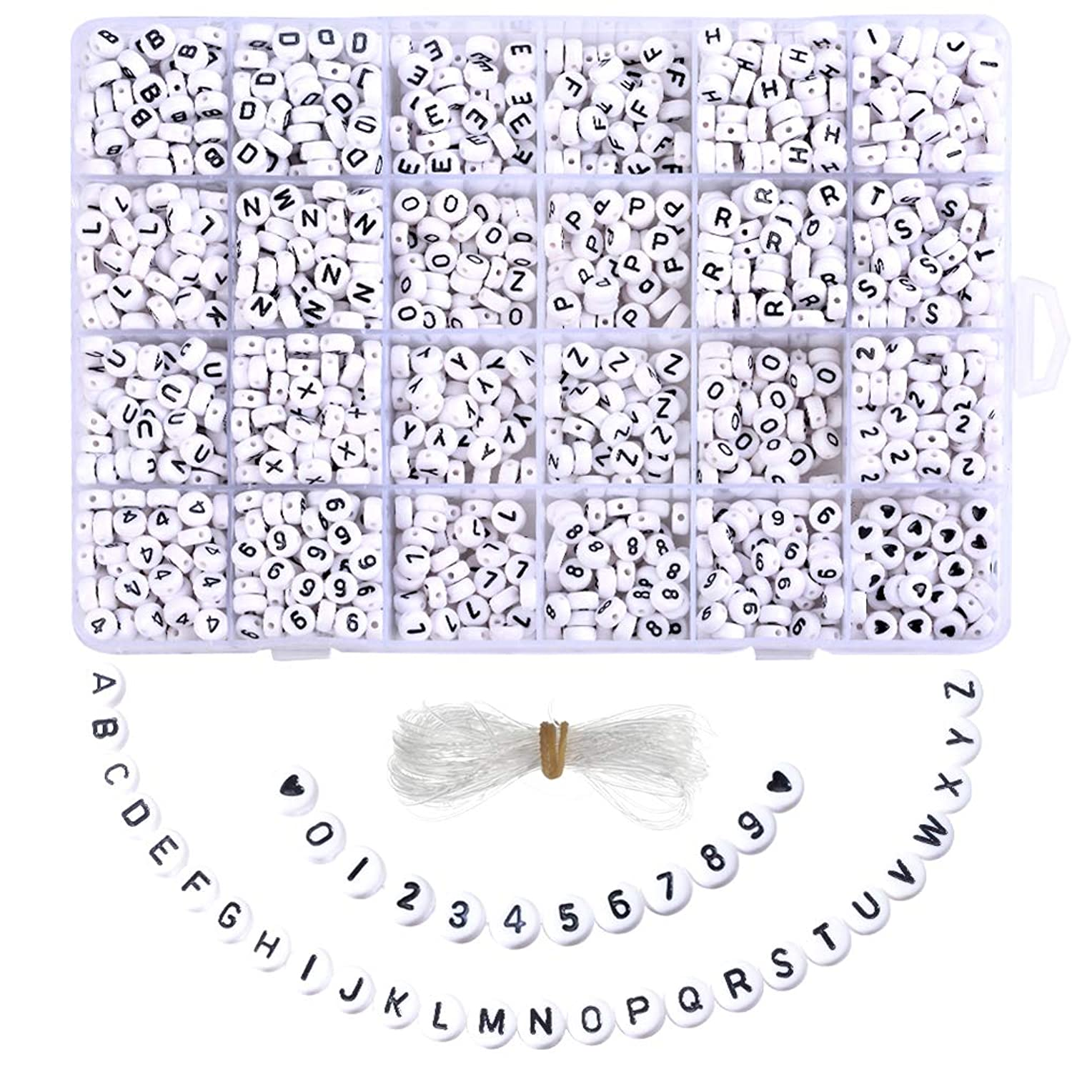DoreenBow 1850PCS Acrylic Mixed Letter Beads and Number Beads Round Alphabet Beads for Jewelry Making/Bracelets/Necklaces/Kids Jewelry