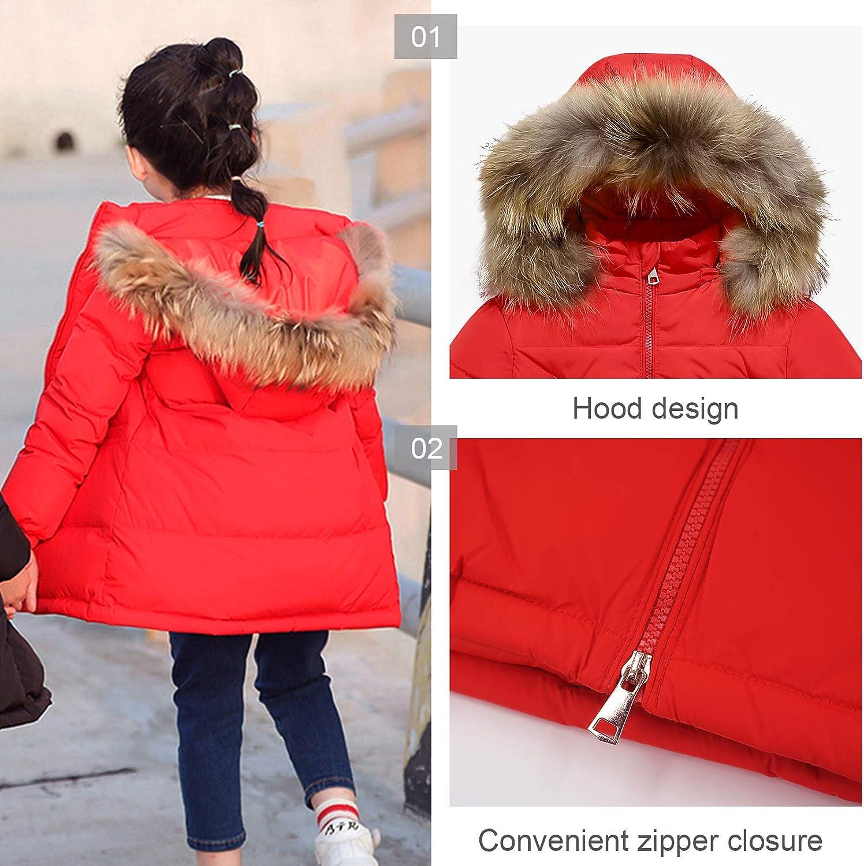 FEOYA Girls Down Jacket Long Puffer Jackets with Hooded Winter Knee Length Coat Outerwear for Kid