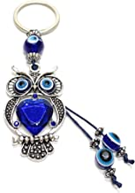 Bravo Team Lucky Owl and Evil Eye Good Luck Keychain Ring, Handbag Charm with Rhinestone Crystals for Good Luck and Blessing, Great Gift