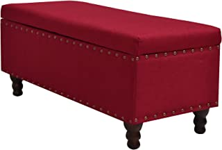 Major-Q Bench with Shoe Storage for Living Room/Entryway/Hallway, Solid Pattern, Nailhead Accent Seat, Red with Wooden Legs 42.5 in. L x 18.5 in. D x 19 in. H (SH6013604)