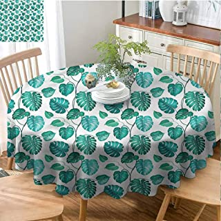 Green Leaf Indoor Round Tablecloth Kitchen Dinning Tabletop Decoration Tropical Palm Tree Fabric Round Tablecloth for Family Dinners or Gatherings - 70