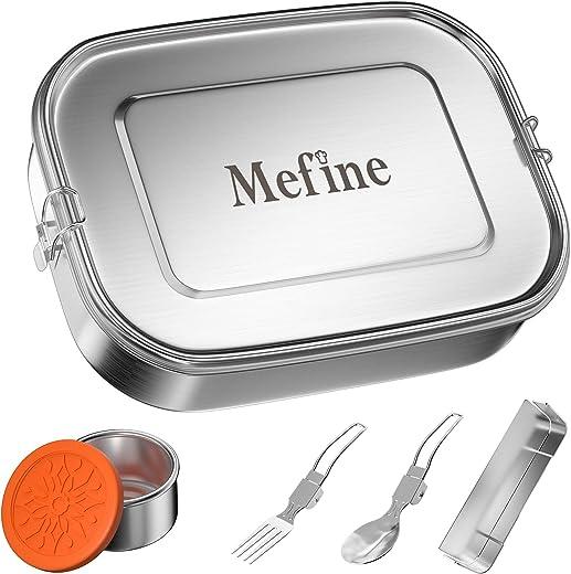 Premium Edelstahl Brotdose, Mefine 1400ml Brotdose Kinder Mit Fächern, Auslaufsicher Lunchbox Set mit Trennwand & Metalldose 110ml, Bento Box groß,…