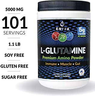 Eniva L-Glutamine Powder, 1.1-Pound, MAX Value 5000MG, 101 Servings. Micronized. Gluten Free. Non-GMO. Soy Free. Zero Sugar. Muscle Recovery, Immune Support and Amino Acid for Gut.