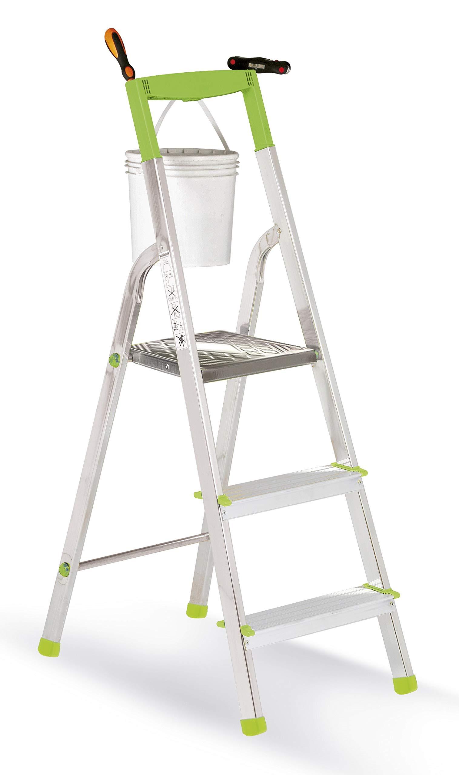 casabriko 11033 escalera doméstica de aluminio de 3 peldaños, verde: Amazon.es: Hogar