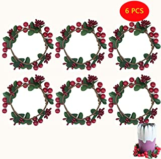 wonuu 6PCS Candle Rings Wreaths,Red Pip Berry with Green Leaves Candle Rings for Pillars Small Wreaths for Rustic Wedding Centerpiece or Table Decoration, Fits 3 Inch Diameter Candles