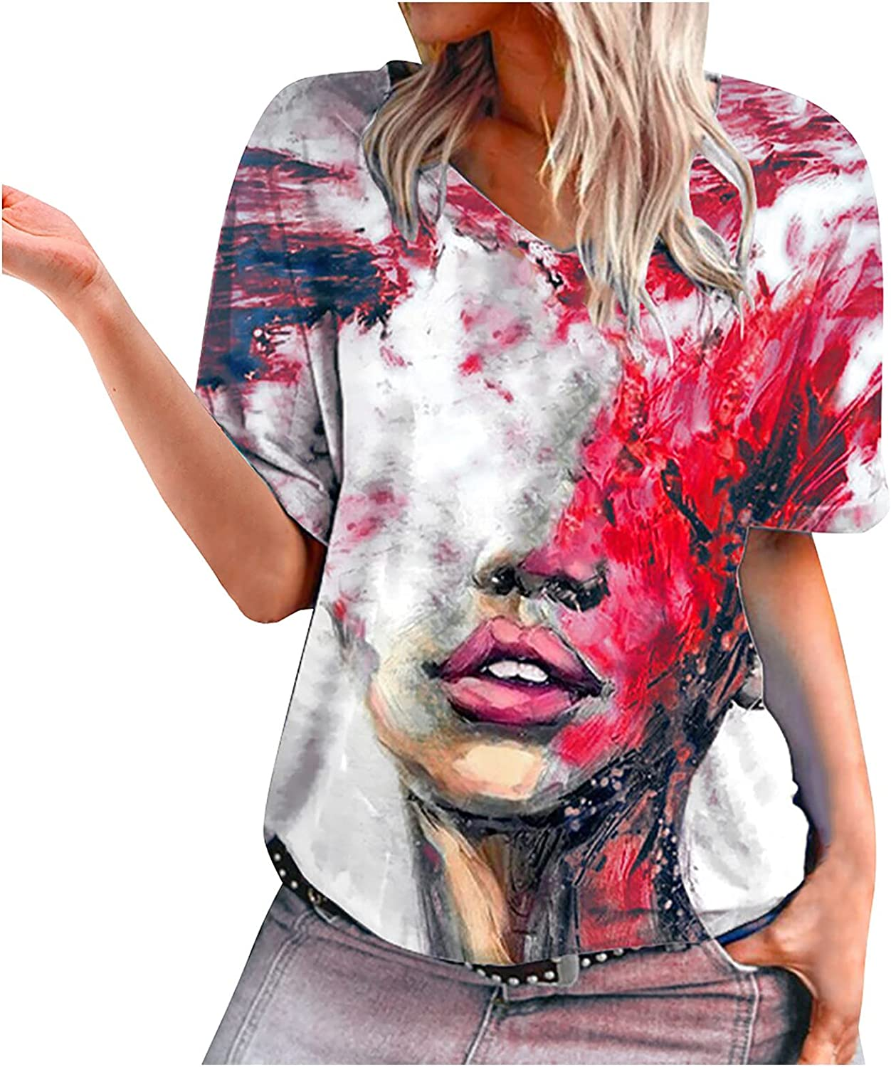 Women Face Print Tshirts Fashion Round Neck Short Sleeve Blouse Summer Loose Fit Casual Tee Tops