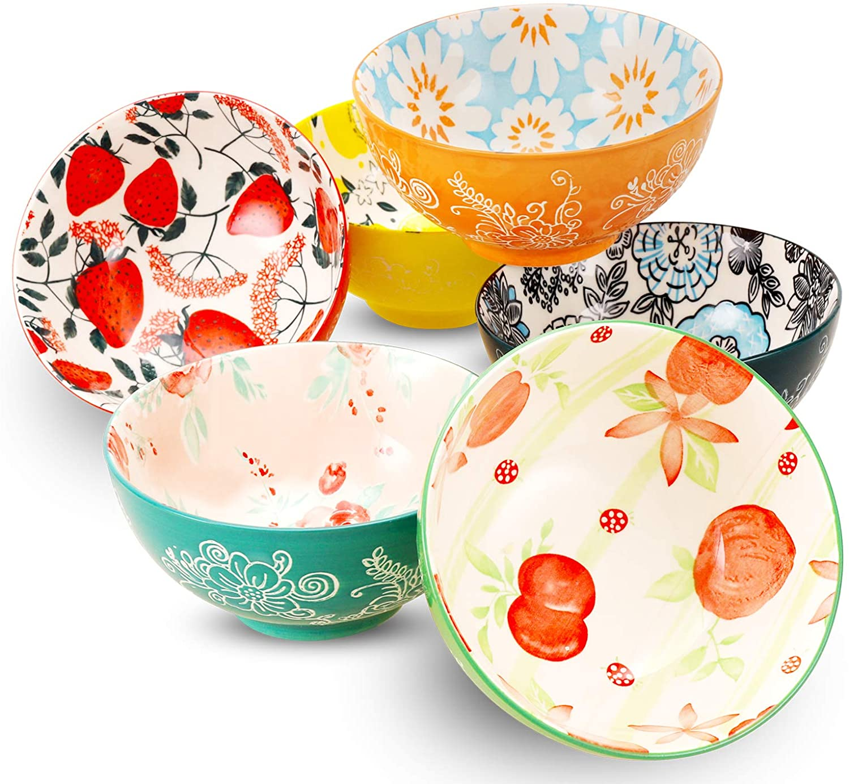 DeeCoo [Alternative dealer] Porcelain Bowls Set 18-Ounce Popular brand in the world for Cerea 6-Piece -