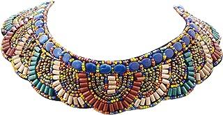 Alilang Tribal colorido con cuentas Bib Scallop Edge Declaración Collar