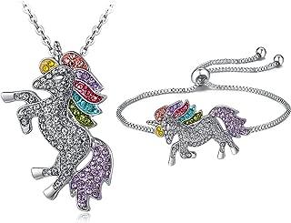 Unicorn Necklace - 2 Pcs Rainbow Unicorn Necklace and Bracelet Set for Girls Best Friend Necklace Bracelet (11529)
