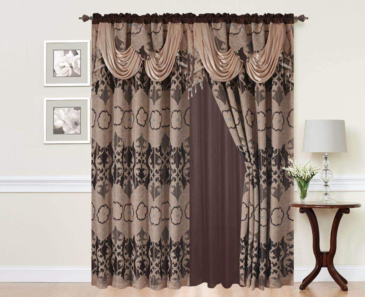 Elegant Home Window Curtain Drapes All In One Set With Valance Sheer Backing Tassels For Living Room Bedroom Dining Room And Sliding Doors Julia Taupe Buy Online In Guatemala At Guatemala Desertcart Com