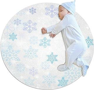 Vacker snöflinga, barn rund matta polyester överkast matta mjuk pedagogisk tvättbar matta barnkammare tipi tält lekmatta