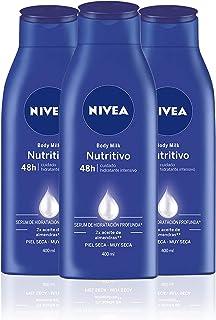 NIVEA Body Milk Nutritivo en pack de 3 (3 x 400 ml) leche corporal para una hidratación profunda durante 48 h crema hidr...