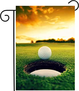 ShineSnow Golf Ball Grass Sunset Autmun Sports Athletic Garden Yard Flag 12