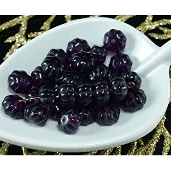 Metallic Silver Blue Crystal Half Czech Glass Squashed Melon Beads Pumpkin Fr...