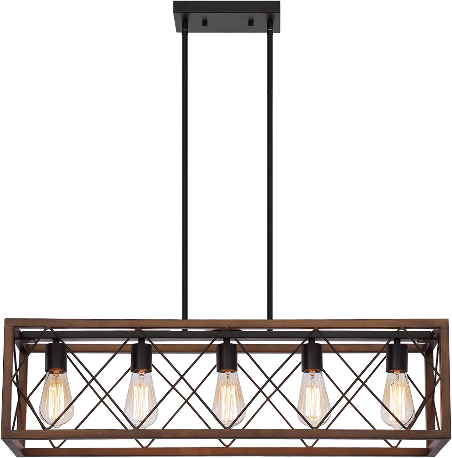 QS Farmhouse Spasm price Island Chandelier Light Fixture Brown+ORB Rectang Max 75% OFF