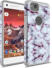Google Pixel 2 XL Case, Rosebono Hybrid Dual Layer Shockproof Hard Cover Graphic Fashion Cute Colorful Silicone Skin For Google Pixel 2XL (Pluple Marble)