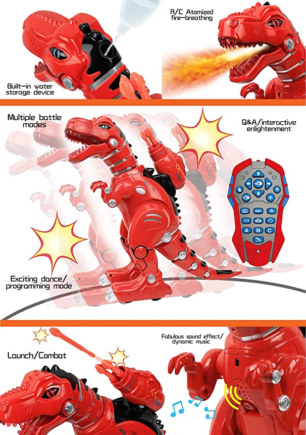 Click N/' Play Remote Control Dinosaur Highly Intelligent Fire Breathing Dinos...