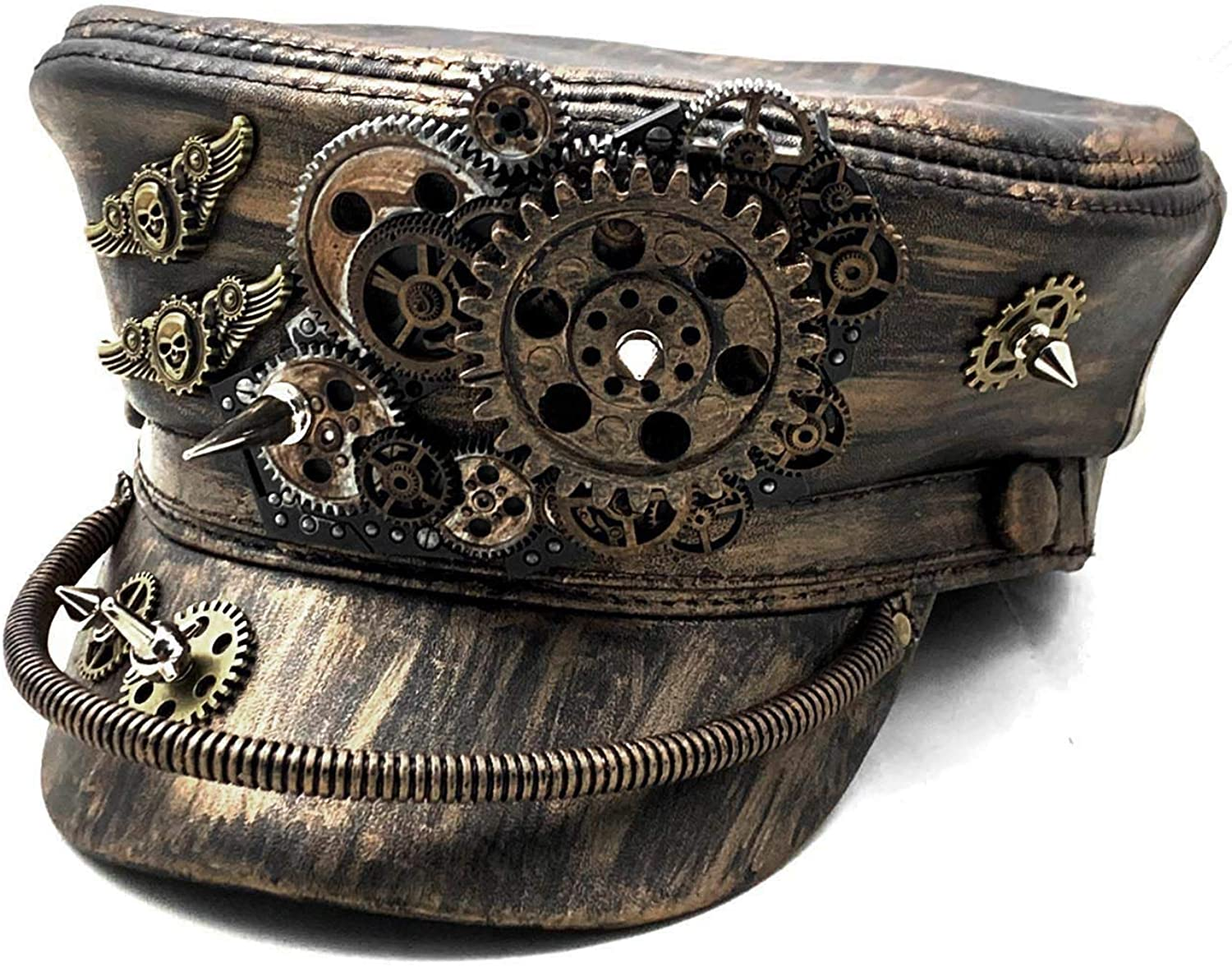 New item Steampunk Hat Vinatage Gold Black Leather Cospaly Gears half Mens