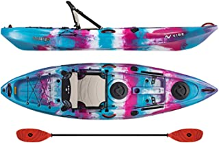 Vibe Kayaks Yellowfin 100 10 Foot Angler Recreational Sit On Top Light Weight Fishing Kayak with Paddle and Adjustable Hero Comfort Seat and Flush Rod Holders and Built in Storage