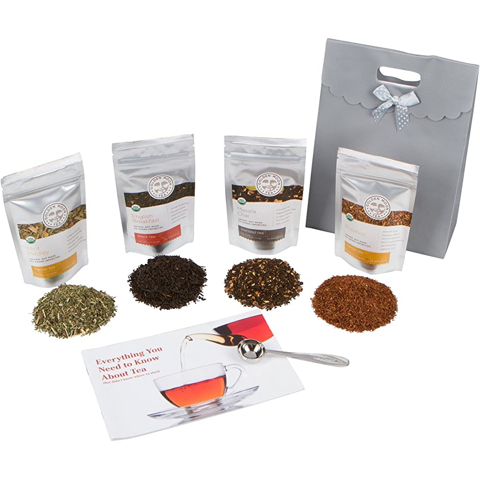 Golden Moon Tea - Tea Gift Set | 100% USDA Organic Loose Tea Sampler Set | Robust Smooth Taste, No Bitterness! 48 Servings in 4 Popular All Natural Flavors | Plus Free Perfect Portion Teaspoon