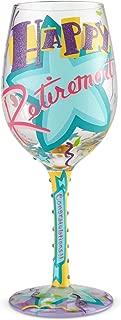 Enesco 6002442 Designs by Lolita Happy, 15 oz. Retirement Blown Wine Glass, Multicolor