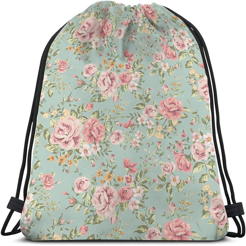 Beabes Pink Financial sales sale Flowers OFFicial site Drawstring Bags Vintage Bag Floral Backpack