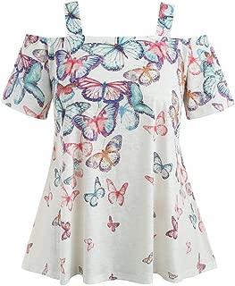 Off Cold Shoulder Plain Top for Women Plus Size Tunic Shirt Short Sleeve Blouse