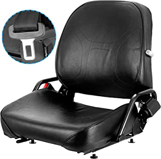 Mophorn Universal Forklift Seat Komatsu Style Folding Forklift Seat with Retractable Seatbelt and Adjustable Backrest Susp...