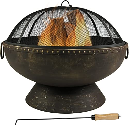high quality Sunnydaze Outdoor Fire Pit Bowl new arrival - 30 Inch sale Large Round Wood Burning Patio & Backyard Firepit for Outside with Spark Screen, Fireplace Poker, and Metal Grate sale