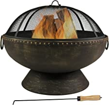 Sunnydaze Outdoor Fire Pit Bowl - 30 Inch Large Round Wood Burning Patio & Backyard Firepit for Outside with Spark Screen,...