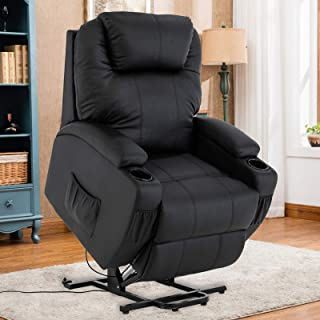 Mecor Power Lift Recliner Lift Chair for Elderly Bonded Leather Electric Lifting Chair with Remote Control/Cup Holders/Reinforced Heavy Duty Reclining Mechanism for Living Room (Black)
