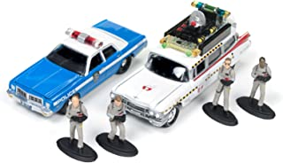 Johnny Lightning JLDR001-GH ECTO 1A 1959 Cadillac Ambulance and 1977 Dodge Monaco New York City Police with Figurines from Ghostbusters 1 Movie 1/64 Diecast Model Cars