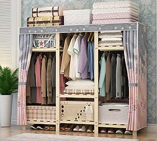 Garde-robe en tissu, armoire simple et moderne, en bois massif simple renforcé armoire double, armoire portable, armoire A...