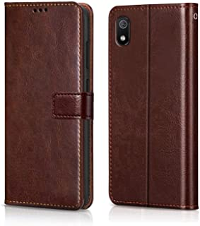 WOW Imagine Redmi 7A Case   Leather Finish   Inside TPU with Card Pockets   Wallet Stand   Shock Proof   Magnetic Closure   360 Degree Complete Protection Flip Cover for XIAOMI REDMI 7A - Chestnut Brown