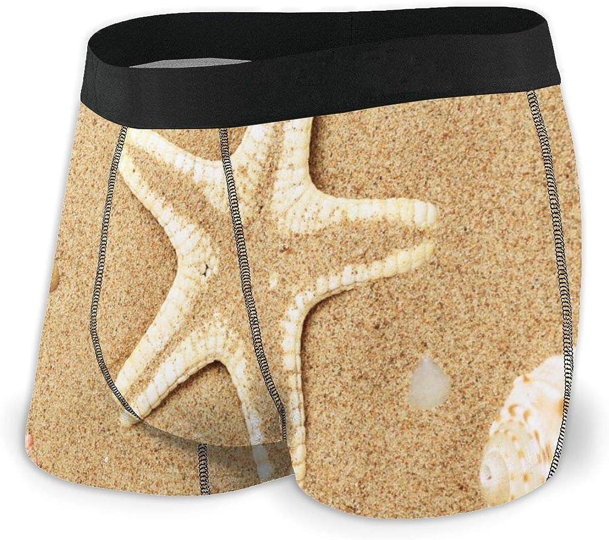 Randolph Wordsworth Mens Boxer Briefs Cute Seashells and Starfish Beach Boys Trunks Underwear Short Leg Breathable Man